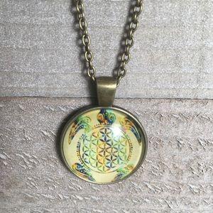Turtle Bronze Cabochon Glass Pendant Necklace